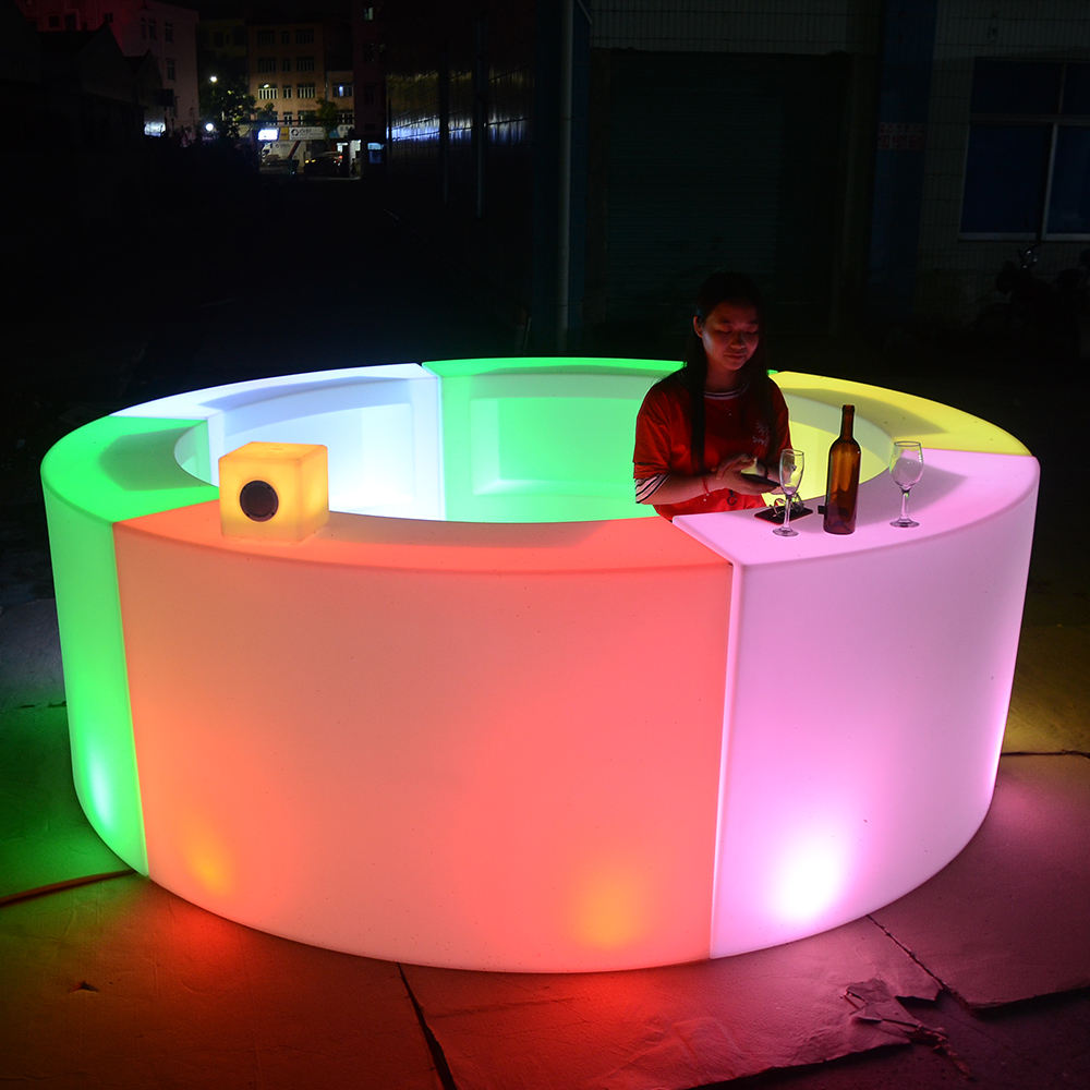 Mobile bar counter illuminated portable bar counter led bar counter/outdoor led furniture for garden patio event party nightclub