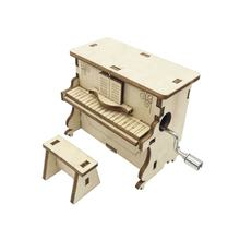 DIY Piano Shaped Custom Music 3D Wooden Crank Music Box
