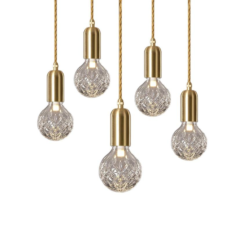 Modern long hanging lights crystal ball hold round pendant light and chandelier