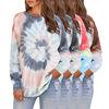 Custom Fall Loose Tie Dye Crew Neck Oversize Cropped Pullover Hoodies Women Sweatshirt