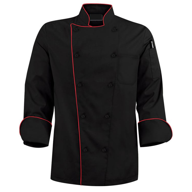 Wholesale hot chef cookware chef uniforms black long for sale bar restaurant uniforms black chef jacket