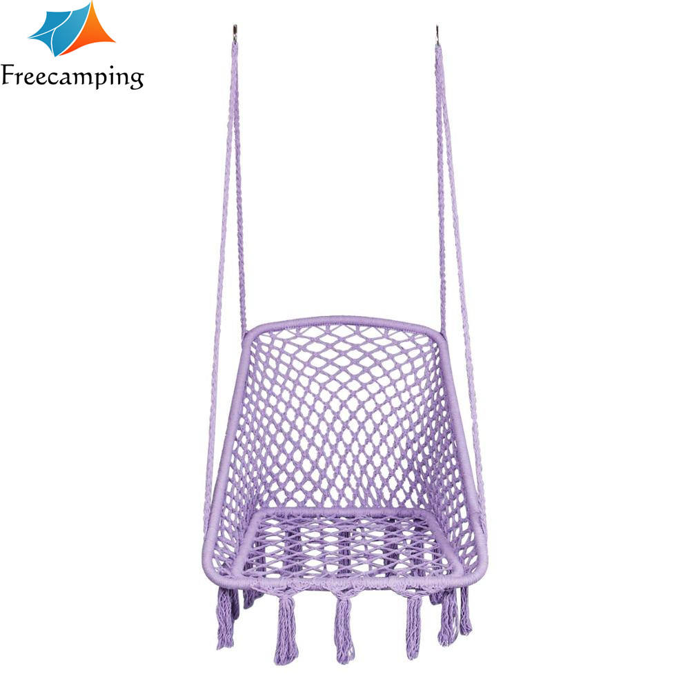 Factory Patio garden Swing cotton Rope hanging chair, bedroom hammock square swing chair