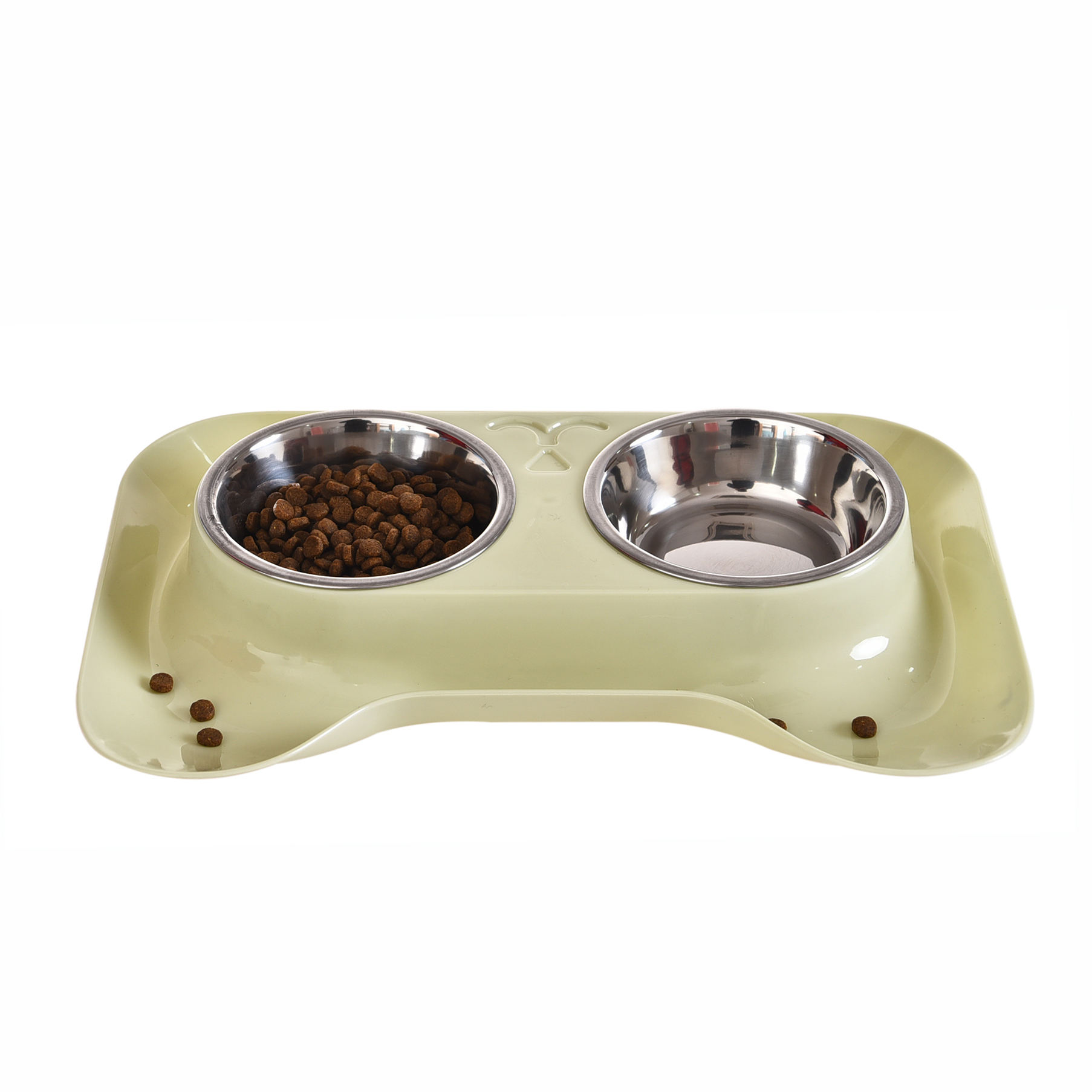 Double Premium Stainless Steel No-Spill Station Small Puppy Dog Cat Bowls Food Water Feeder