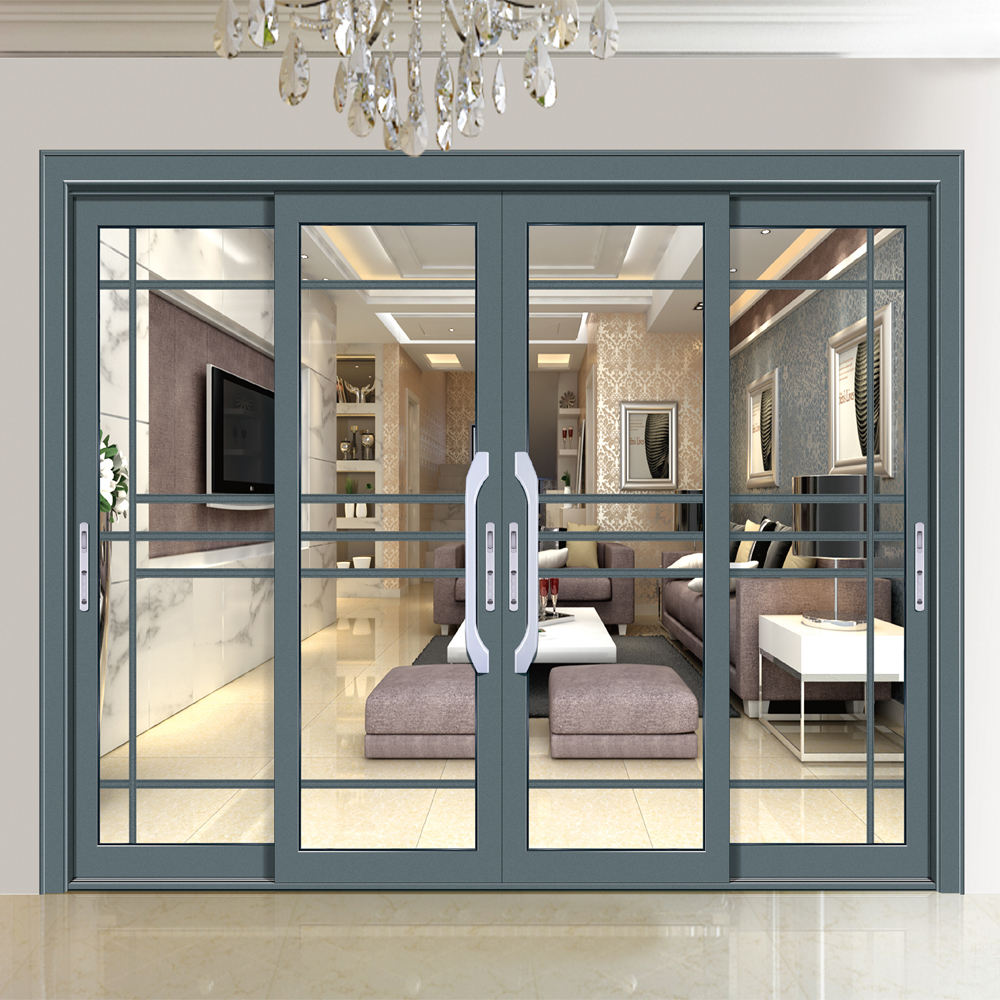 HS-JY8032 factory price french exterior commercial entry double glazed glass aluminum sliding doors