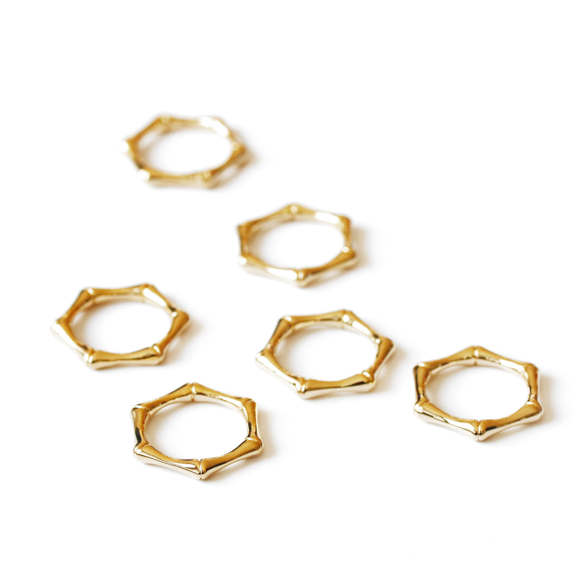 Hexagonal Bamboo Ring Simple Temperament Brass Gold Plated Chic Fashion Women Ring