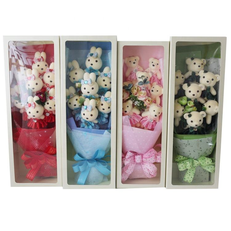 Beautiful Valentine's day gift stuffed soft plush toy teddy bear bouquet decoration cartoon cute plush flower bouquet boxes