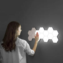 6 pcs Per Set Honeycomb LED Magnetic Quantum Night Light Touch Modular Hexagonal Wall lamp