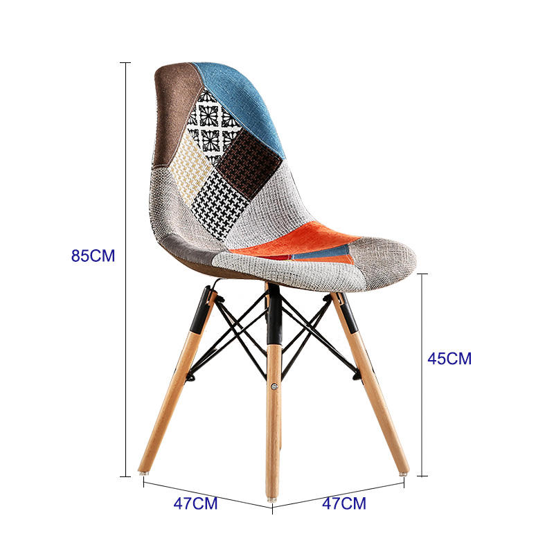 Italian Style Modern Restaurant Chrome wooden Leg Leisure Chairs fabric Dining Chair