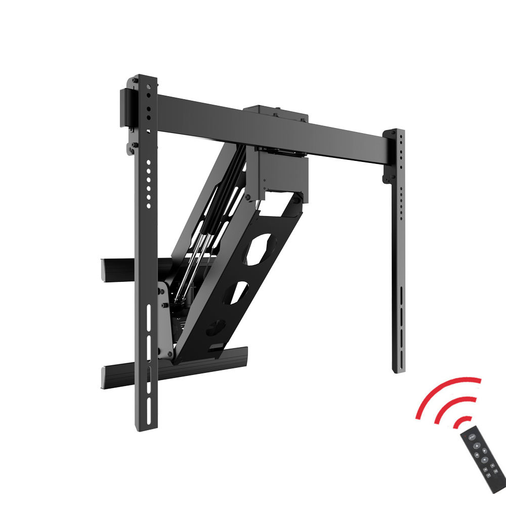 "Remote Control Motorized Retractable Fireplace Pull Up Down Height Adjustable TV Wall Mount Bracket for 45""-100"" LCD Displays"