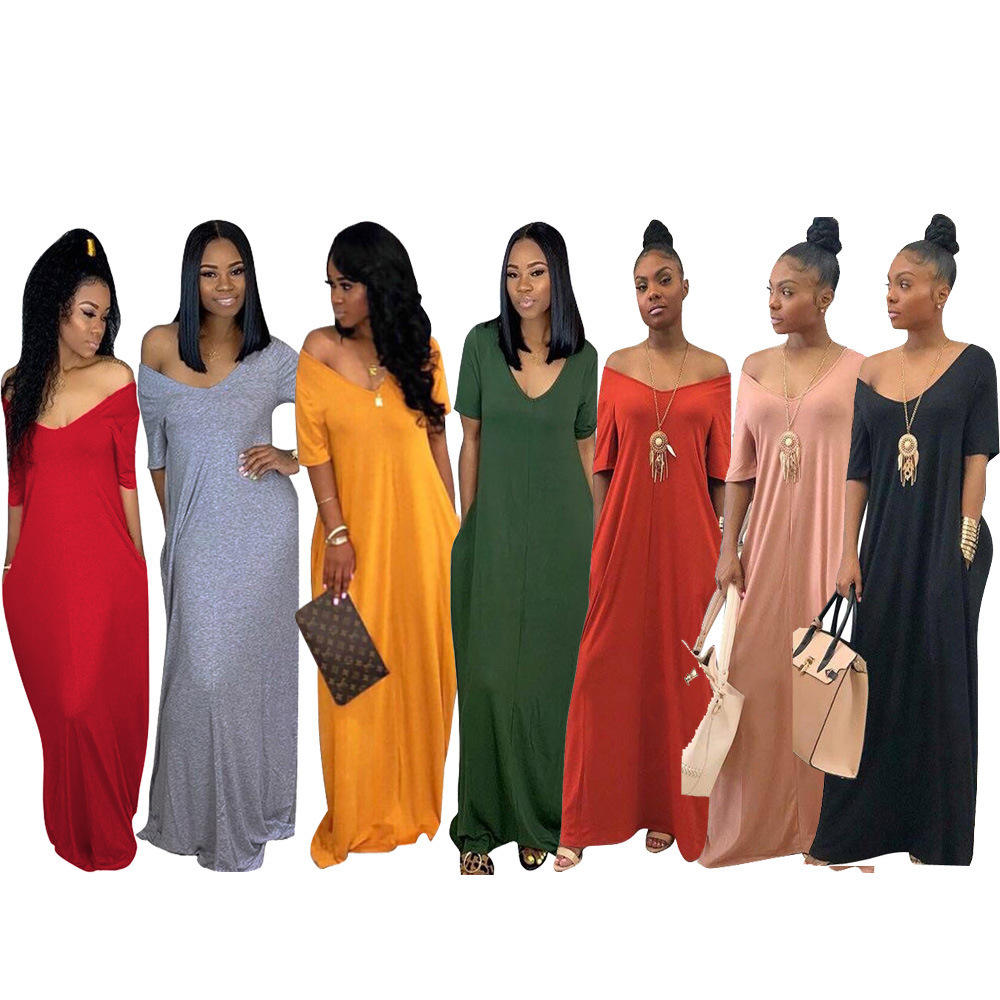 2020 summer women solid long dress casual loose maxi ladies one piece dress