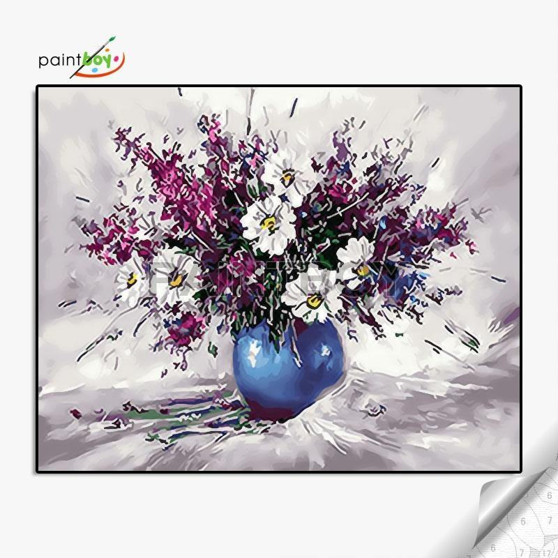Home decoration flower 40x50cm DIY oil painting by numbers with wooden frame