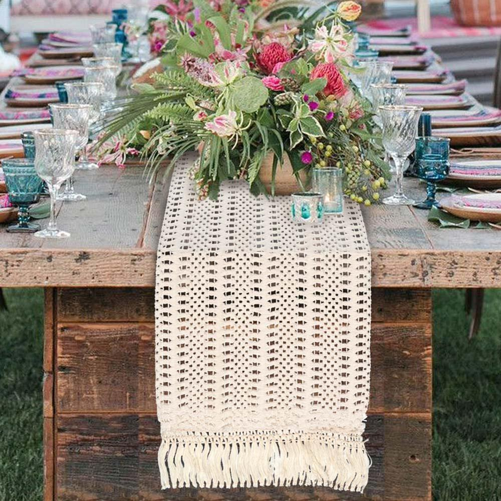 Aerwo Boho Wedding Table Decoration Supplies 30X274cm Moroccan Macrame Table Runner For Tassels Baby Shower Birthday Party