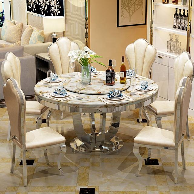 Fashion design round dining table with steel base for hot sale CT032