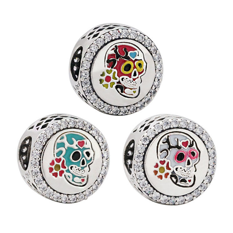 Hạt 925 Sterling Silver Men Flower Skull Mexico Day Of The Dead Lễ Hội Charms Cho Phụ Nữ S925diy Charm Bracelet