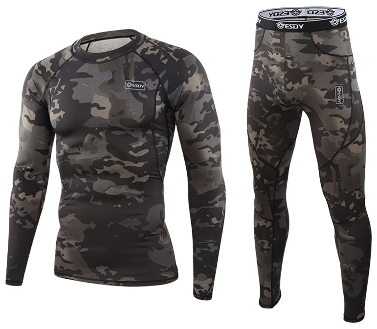 Camo Outdoor tactical warm underwear set sports military thermal underwear