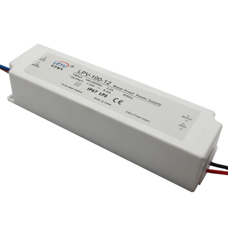 IP67 plastic 100W waterproof 12V 8.5A constant voltage led driver transformer LPV-100-12
