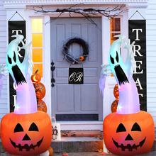Airblown Projection Pumpkin Greeting Ghost Halloween Inflatable with LED Lights for Halloween Outdoor Decoration