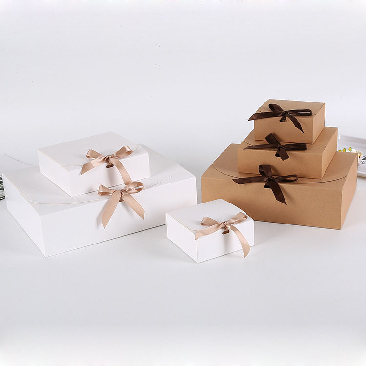 Nicro Exquisitely Crafted Cowhide White Cardboard Gift Box Bow Box Macaron Combo Box
