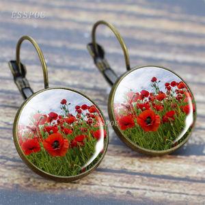 Vintage Bronze Earrings Poppy Flowers Glass Cabochon Hoop Earrings Flowers Dangle Earrings for Women