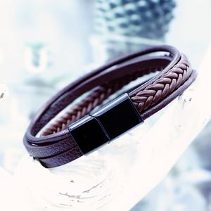 V&R Fashion Woven Bracelet Stainless Steel Bangle Jewelry Adjustable Braid Brown Leather Men Bracelets