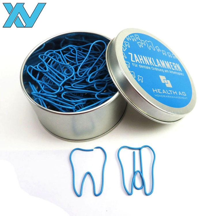 30pcs tin box teeth shaped tooth metal paper clip