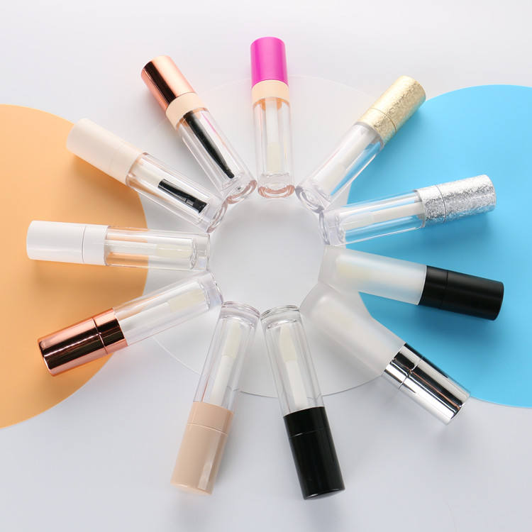 Empty Rose Gold Lip Gloss Tubes with Wands Plastic Liquid Lipstick Container 6ml for Cosmetic Packaging