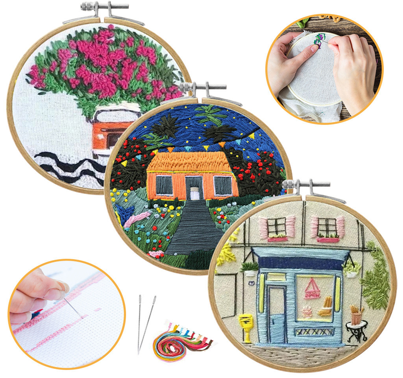 DIY Ribbon Embroidery Set for Beginner Needlework Kits Europe Town Scenery Cross Stitch Series Needle Art Craft Sewing Decor