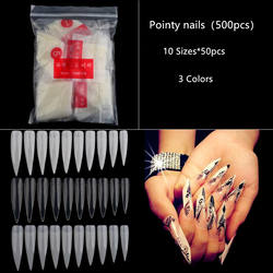 New Long False Nail Tips Half Cover Stiletto Sharp Pointed Head ABS Artificial Fingernails Painted Nails 500pcs/Bag