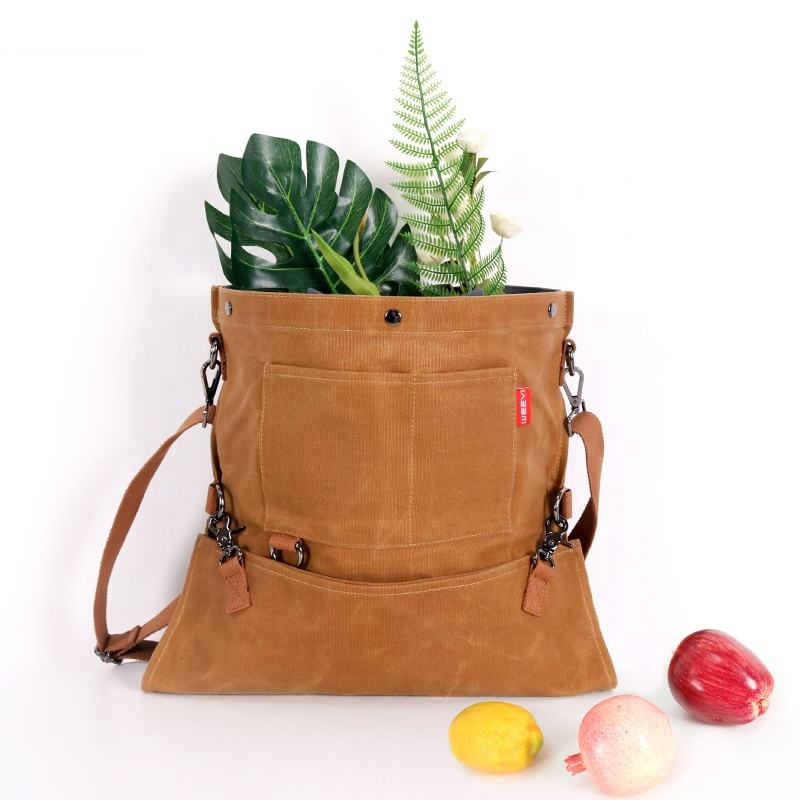 Custom Multifunctional waxed canvas Large Roll Up Garden Picking Apron Fruit Harvesting Bag