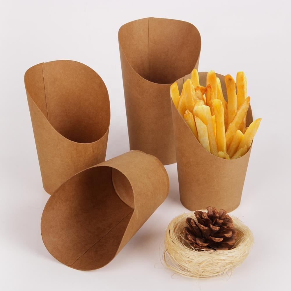 Customized disposable wholesale french fries package /western triangle conical bag / dessert packing box