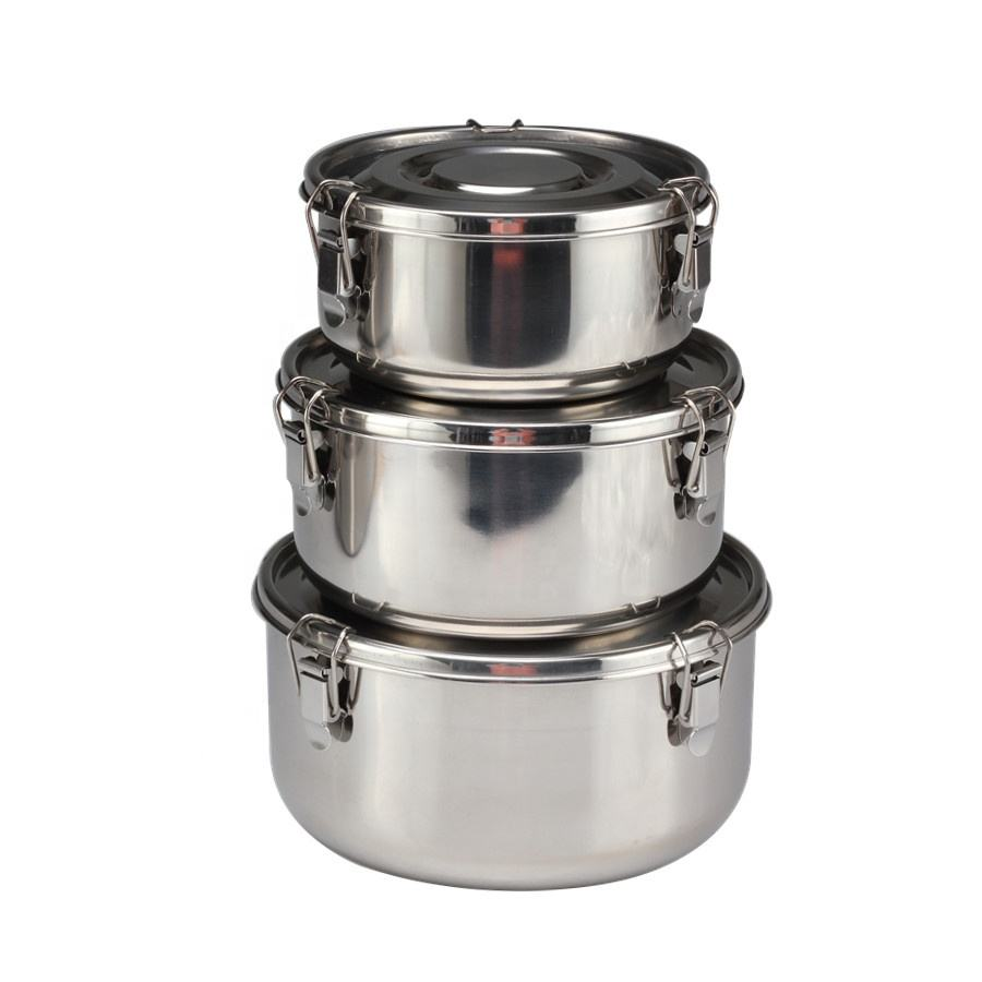 3-Piece Airtight Stainless Steel Food Storage Containers with Lids Stainless Steel Lunch Box Food Storage Containers | BPA Free