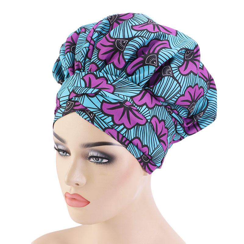 African pattern satin linned bonnet With Long Ribbon headwrap Double Layer Headwrap headscarf Ankara Big Size Women Hair Cover