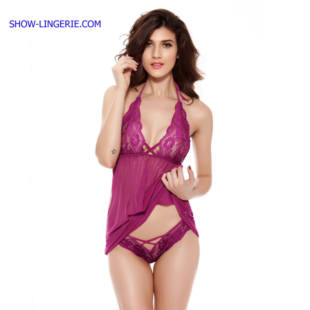 Wholesale Purple Sexy Lingerie Transparent Babydoll Nighty