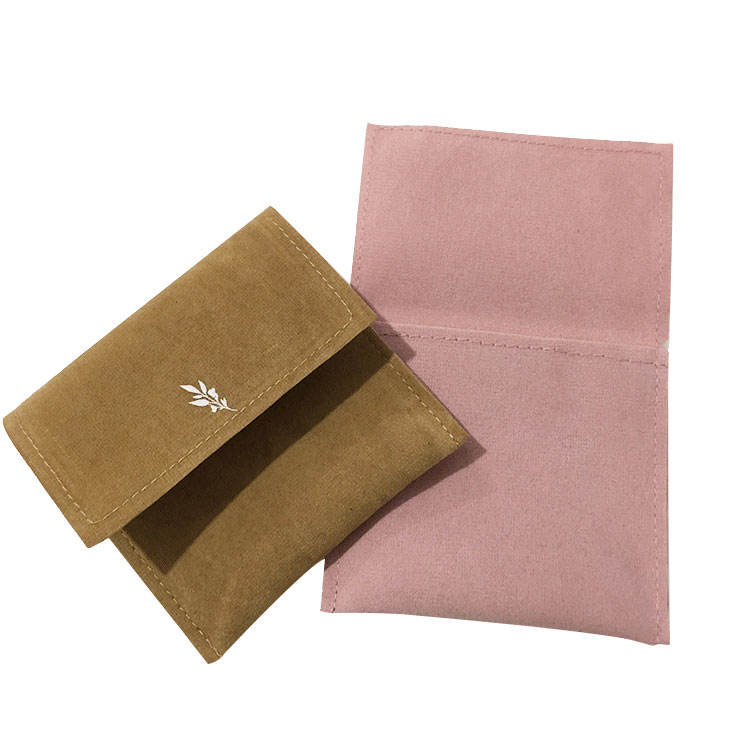 High Quality Custom Logo Luxury Microfiber Envelope faux Suede Jewelry Packaging Pouch/Bag With Flap