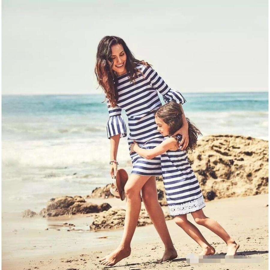mother and daughter matching clothes hot sale mother and daughter matching outfits stripe mother and daughter matching dress