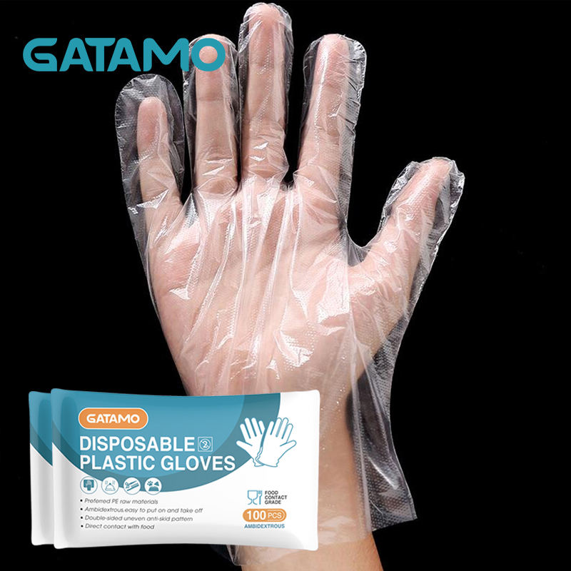 G1 PE Plastic household daily food grade eating use oil proof food hand disposable folded transparent hdpe plastic pe gloves