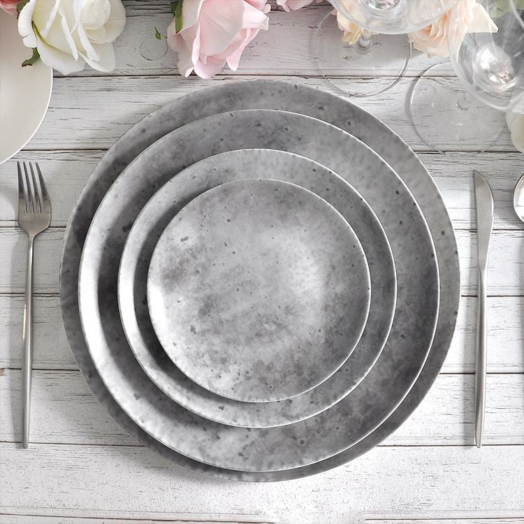 wholesale mexican gray matt round ceramic concrete plate sets dinnerware for restaurant catering
