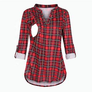 Nursing Top Women Plaid V Neck Long Sleeve Breastfeeding T Shirt Pullover Casual Elegant Pregnant Maternity Winter Clothes
