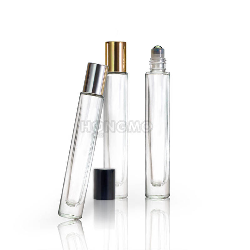 10 ml clear cylinder heavy wall thick bottom perfume glass bottle roller 10ml roll on bottle for essential oil in stock