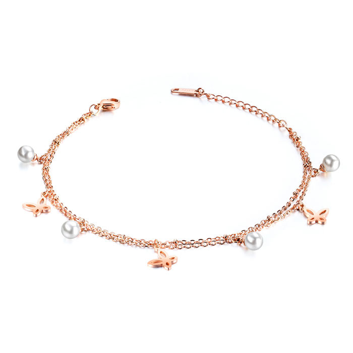 Stainless Steel Rose Gold Plated Charm Pearl And Butterfly Anklet for Women