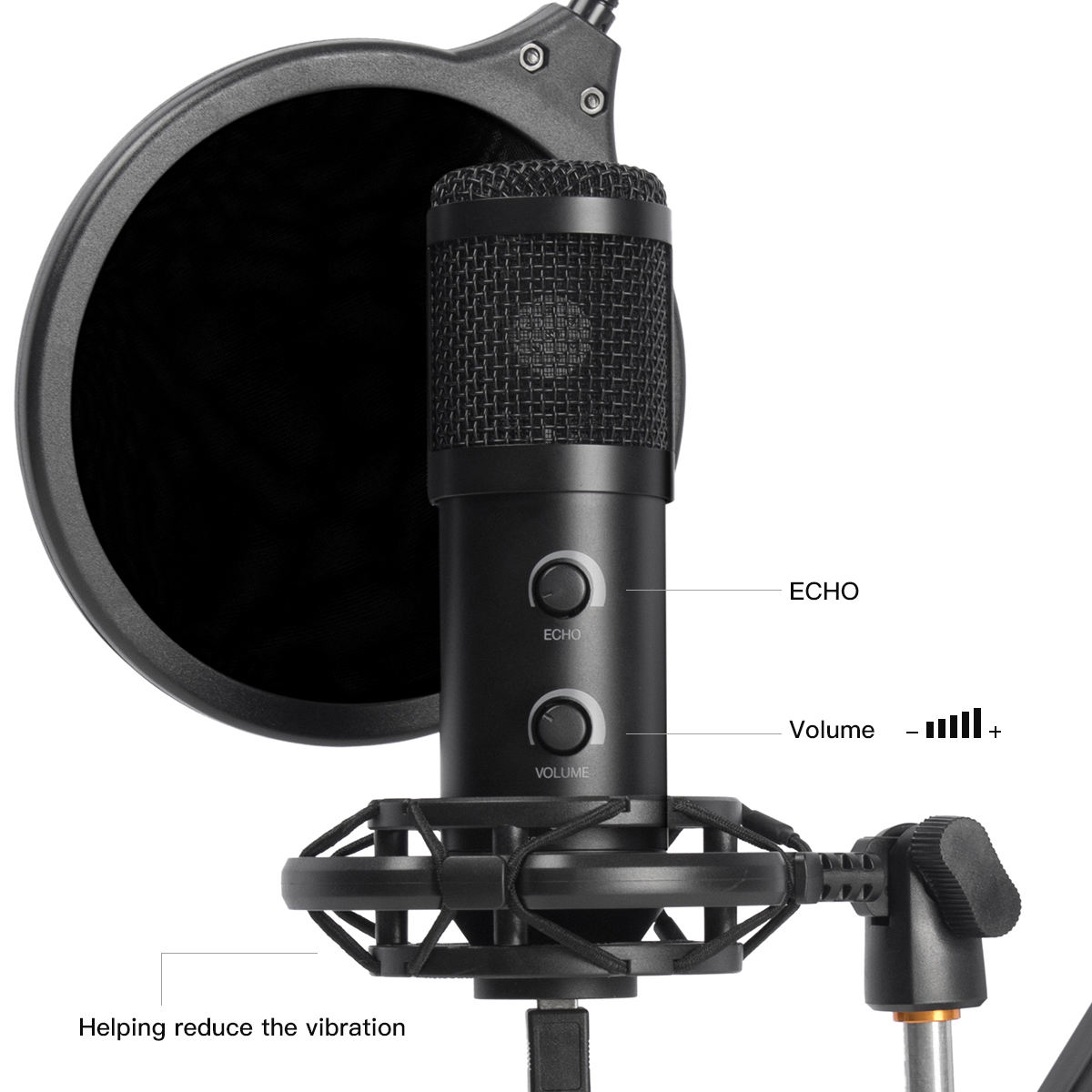 Flyday OEM Podcast Condenser Microphone T058B with Professional Sound Chipset for PC Karaoke, YouTube, Gaming Recording