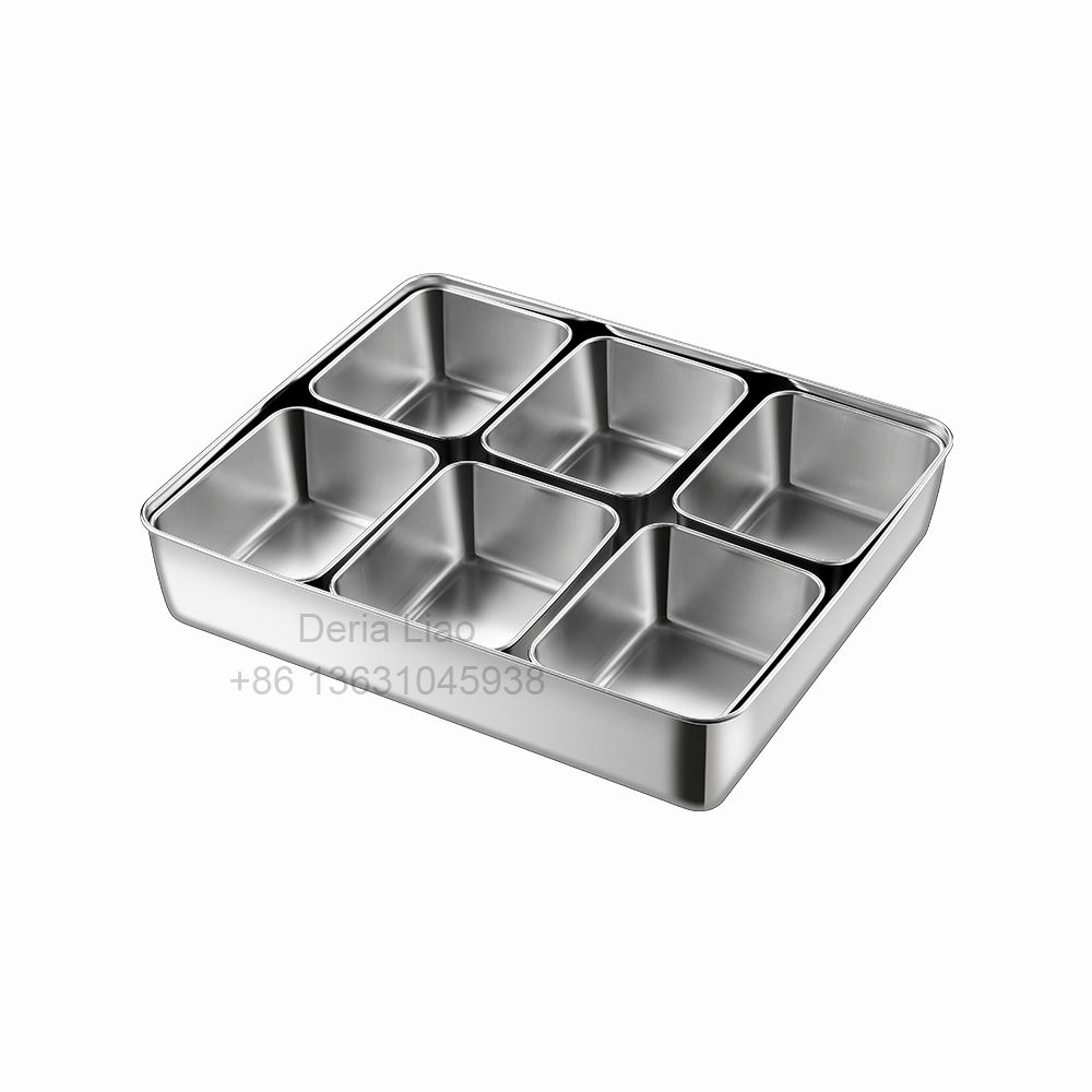 Factory kitchen stainless steel condiment seasoning box container 4 6 8 compartment spice jar storage set Japanese Bento Box