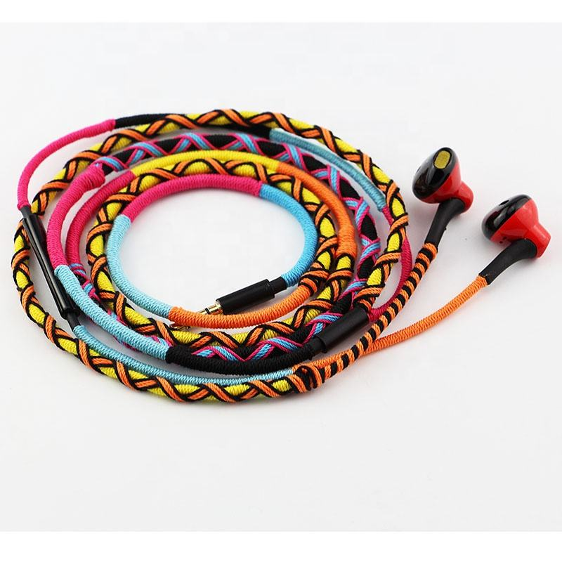Urizons custom design handmade rope braided headphone earphones wired with mic
