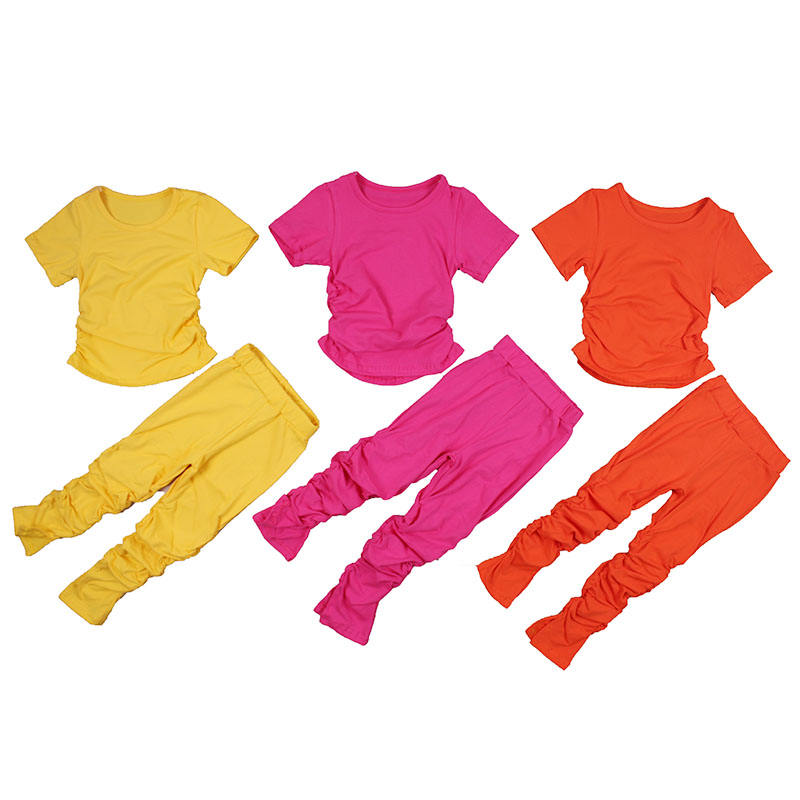 baby girl outfit set Stacked Jogging Pants Girls solid color autumn cotton suit Little girl stacking pants suit