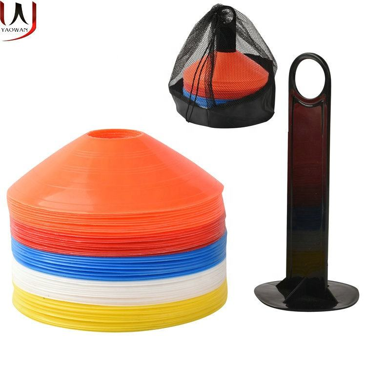 durable soft soccer football training agility disc cones marker cones soccer cones packing 50pcs per set with carrying bag