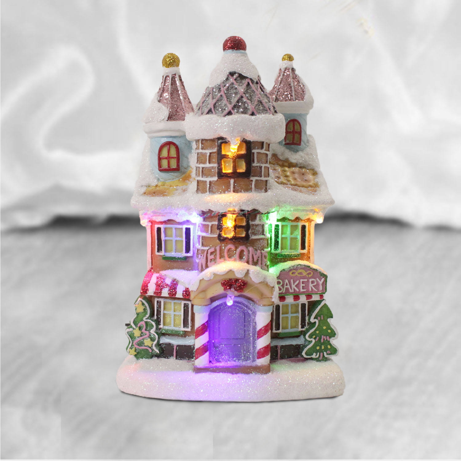 Tabletop Indoor Decoration House Ornaments Led Resin Christmas Village