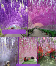 Artificial flower simulation Wisteria flower fake flower violet ceiling flower vine indoor wedding decoration rattan plastic flo