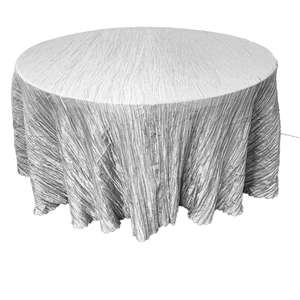 Elegant Crinkle Taffeta Tablecloth, Gray 120inch Round Table Linens