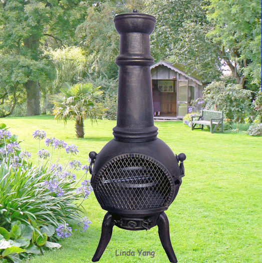 Large Solid Cast Iron Outdoor Chiminea With BBQ Grill Patio Used Charcoal Heater Woodburning Garden Chimenea