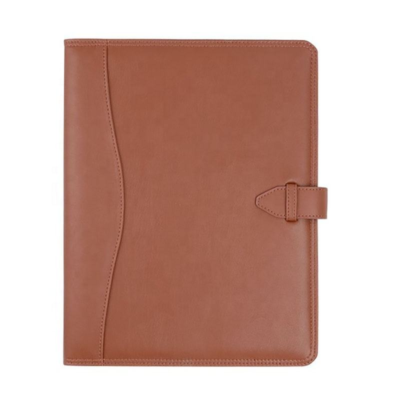 Custom Tan Color Leather Portfolio A4 Leather Presentation Folder with Card Holder